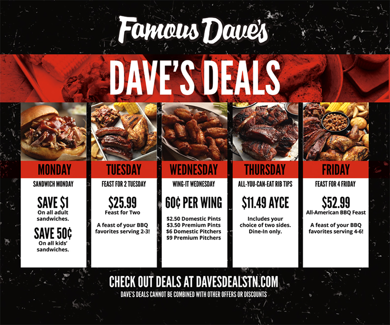 Dave's Deals - Mondays BURGER MANIA! Starting at $4.79 Save $2 on all Adult Burgers Save $1 on Kids Burgers. Tuesdays - FEAST FOR TWO TUESDAY! A Feast of your BBQ Favorites $22.22 (Save over $10!) Serves 2-3. Wednesdays - WING-IT WEDNESDAY! Every wing, any flavor, 50¢ each! $2 Domestic Pints $5 Domestic Pitchers $3 Premium Pints $8 Premium Pitchers. Thursdays - RIB TIPS 'TIL PAYDAY All-You-Can-Eat Rib Tips. Includes your choice of two sides. $9.99 Dine-in only. Fridays - FEAST FOR FOUR FRIDAY! All-American BBQ Feast $44.44 (Save over $15!) Serves 4-6